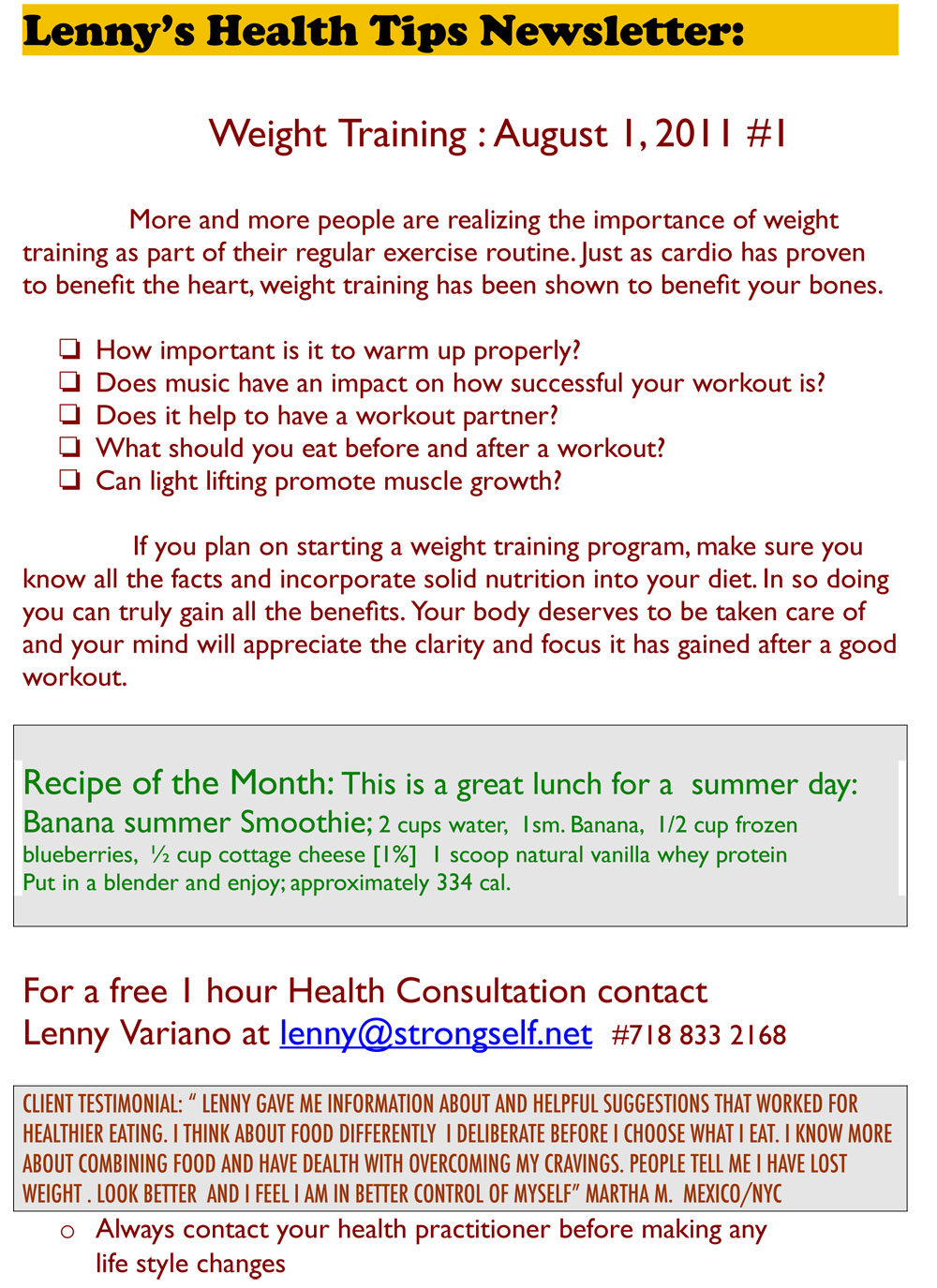 Tips on Weight Training from Lenny Variano, www.strongself.net