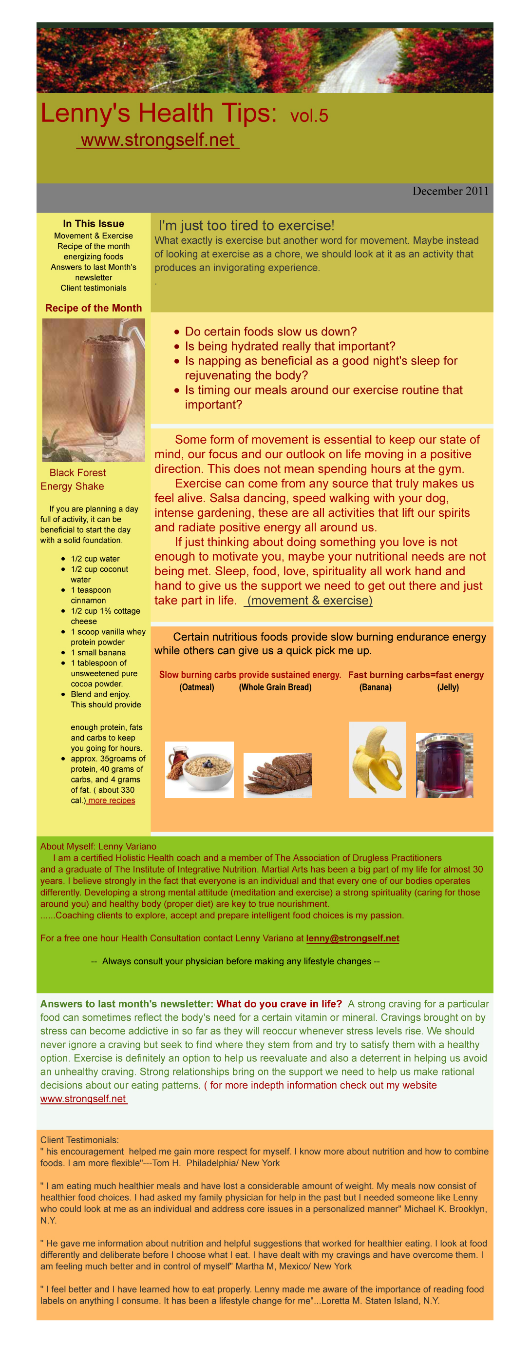 December 2011 Healthy Tips Newsletter from certified Holistic Health Counselor Lenny Variano