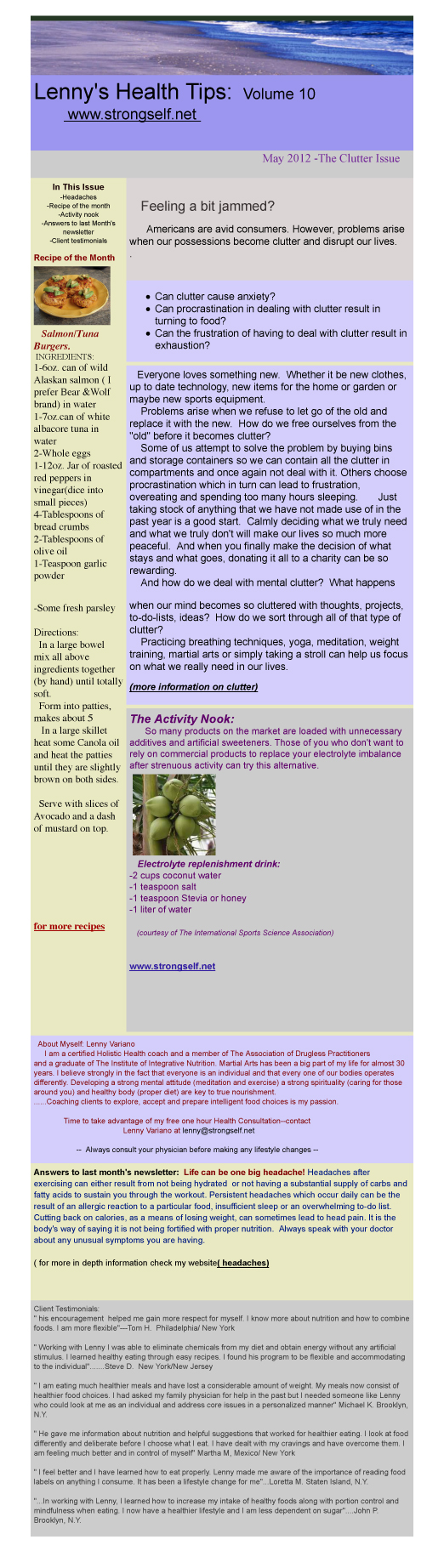May 2012 Healthy Tips Newsletter from certified Holistic Health Counselor Lenny Variano