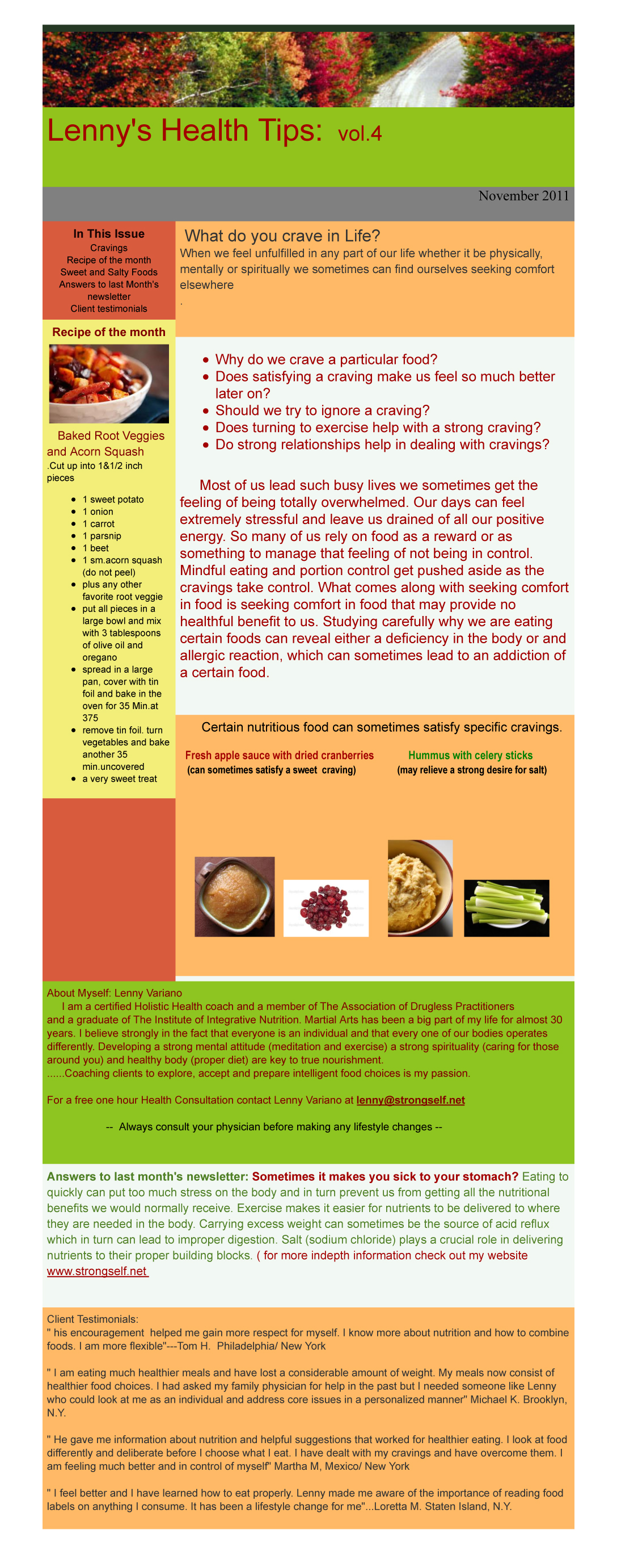 Healthy Tips Newsletter Nov2011