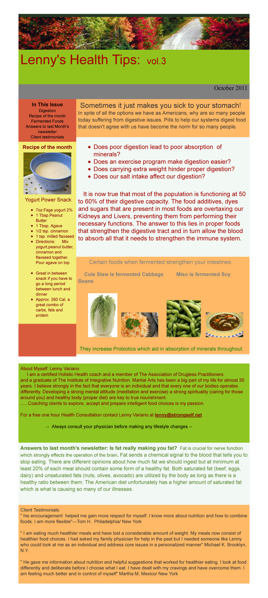 Healthy Tips Newsletter from October 2011