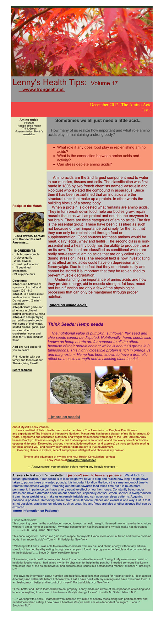 December 2012 Healthy Tips Newsletter