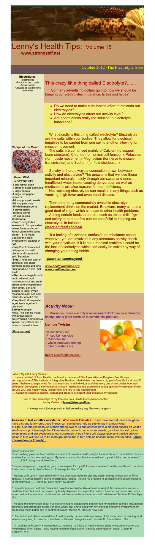 October 2012 Healthy Tips Newsletter