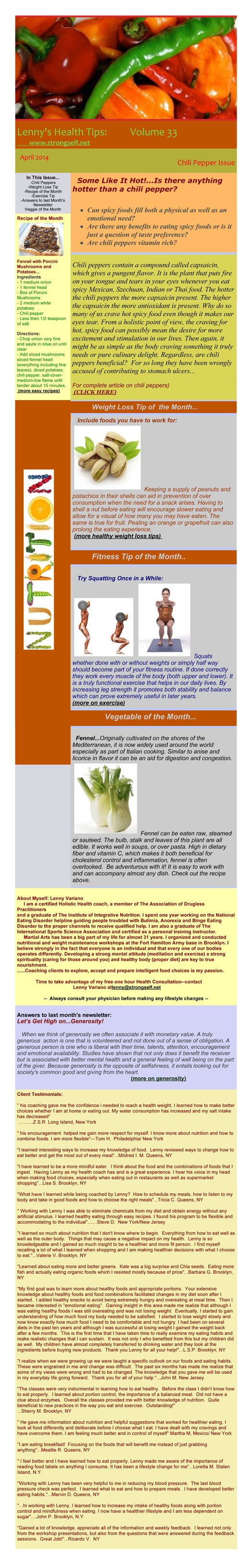 April 2014 Healthy Tips Newsletter from certified Holistic Health Counselor Lenny Variano