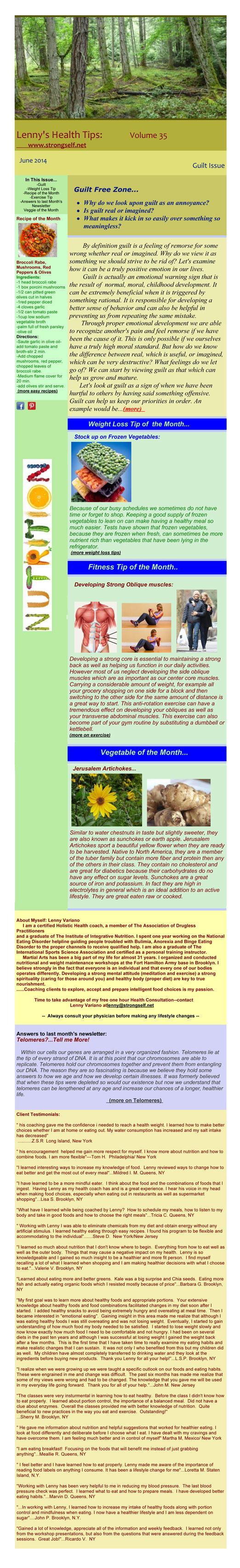 June 2014 Healthy Tips Newsletter from certified Holistic Health Counselor Lenny Variano