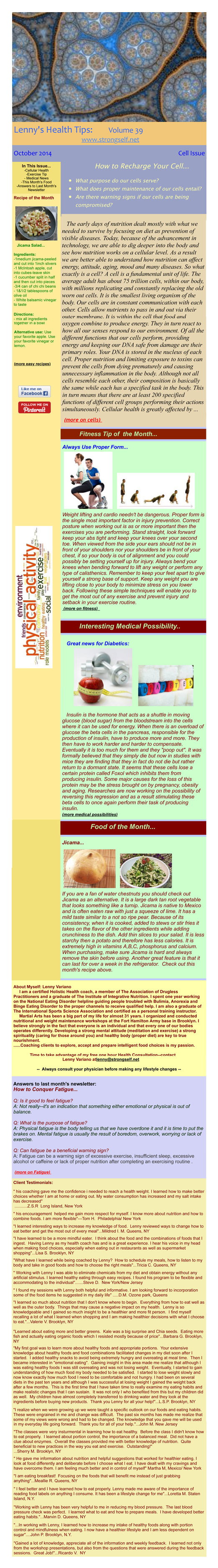 October 2014 Healthy Tips Newsletter from certified Holistic Health Counselor Lenny Variano