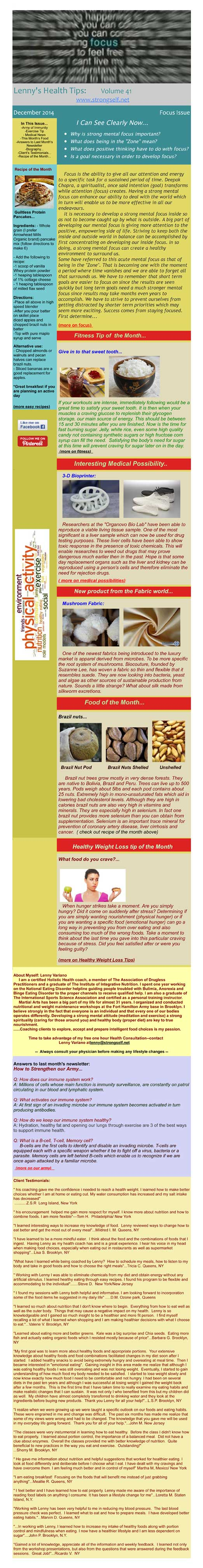 December 2014 Healthy Tips Newsletter from certified Holistic Health Counselor Lenny Variano