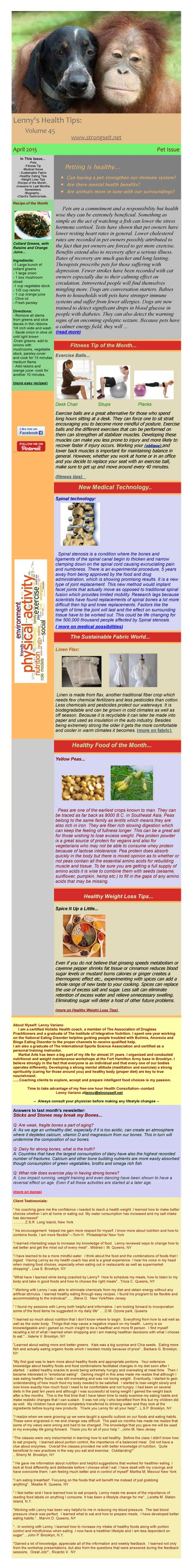 April 2015 Healthy Tips Newsletter from certified Holistic Health Counselor Lenny Variano