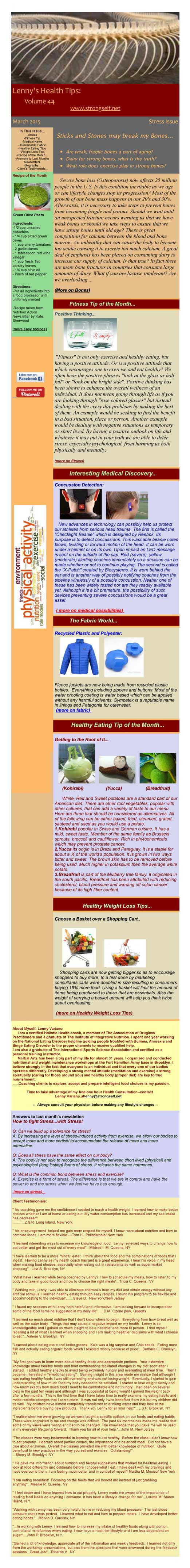 March 2015 Healthy Tips Newsletter from certified Holistic Health Counselor Lenny Variano