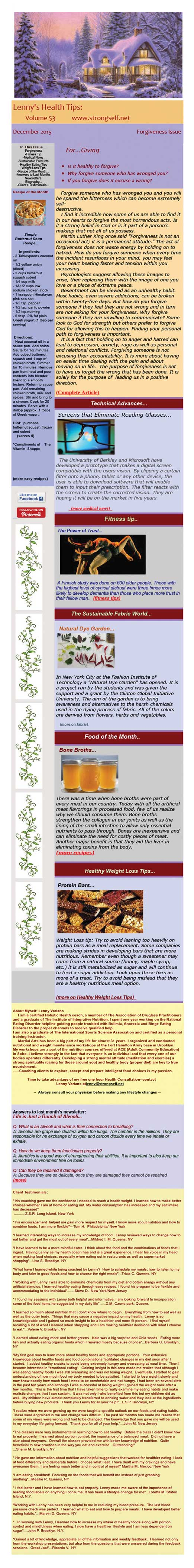 December 2015 Healthy Tips Newsletter from certified Holistic Health Counselor Lenny Variano