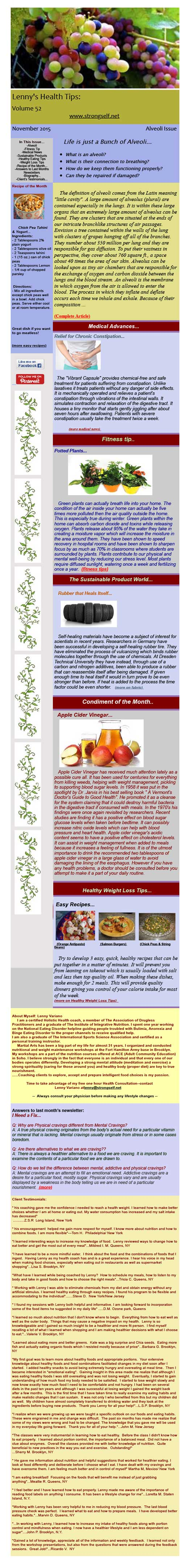 November 2015 Healthy Tips Newsletter from certified Holistic Health Counselor Lenny Variano