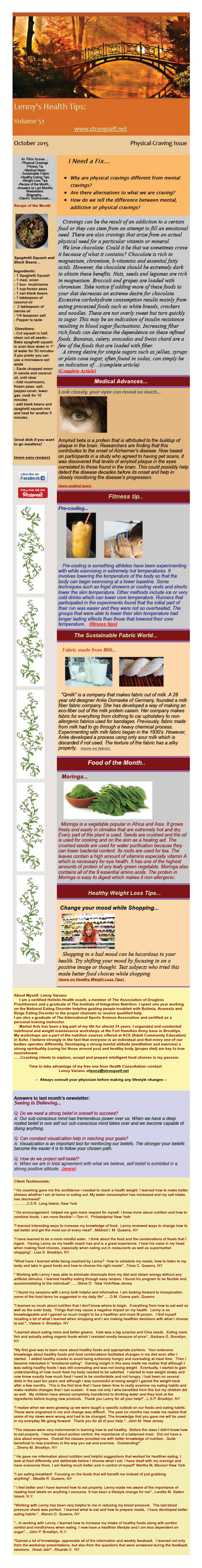 October 2015 Healthy Tips Newsletter from certified Holistic Health Counselor Lenny Variano