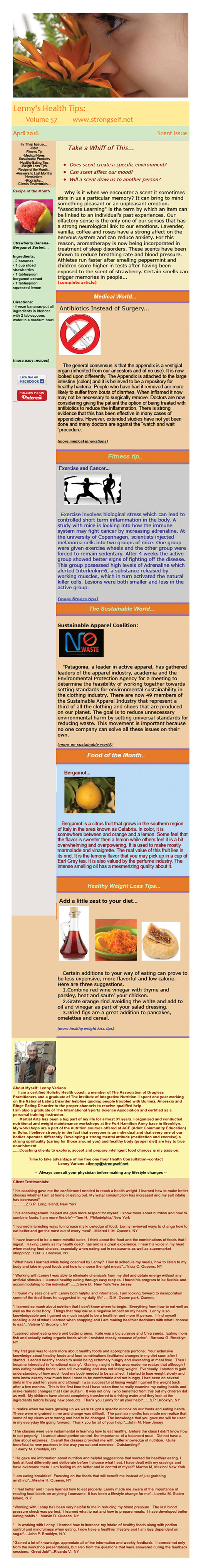 April 2016 Healthy Tips Newsletter from certified Holistic Health Counselor Lenny Variano